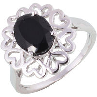 Gopalam Gems Sterling Silver Onyx Ring
