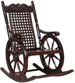 Shilpi Hand Carved Wooden Rocking Chair-3