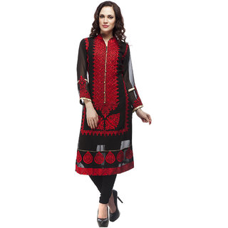 Manroza Black Heavy Embroidered Georgette Kurti