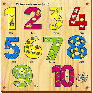 Kinder Creative Picture On Number With Knobs (10 Pieces)