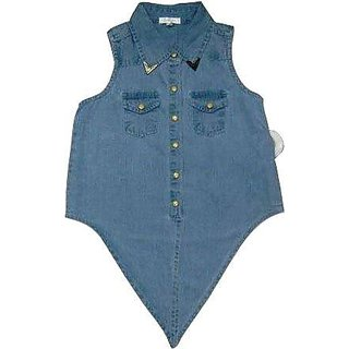 Girls Sleevless Top WIth Two Patch Pocket At Front