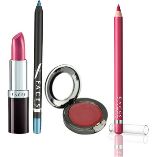 Glam On Ultramoist Lipstick(Magenta)+Longwear Eye Pencil(Aqua Blue)+Lip Contour(Petal Pink)+ Glam on Crme Blush(Hint of Pink)
