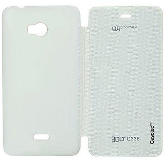 Casotec Premium Flip Case Cover For Micromax Bolt Q336 - White
