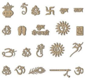 Wooden Laser Cut Symbols for Diwali - DIY Craft and Art Material (Set of 21)Wood