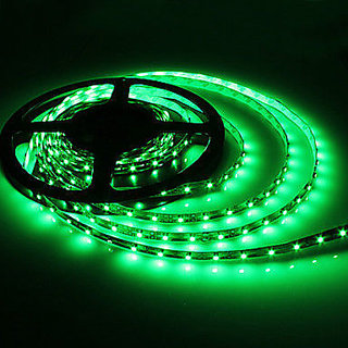 FINE 5 METRER GREEN NON WATER PROOF CUTTABLE LED STRIP  FREE AC ADAPTER