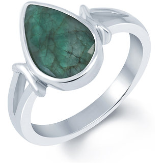 G-Luck Emerald (Panna) 92.5 Silver Gemstone Ring (SLEM-1148B)
