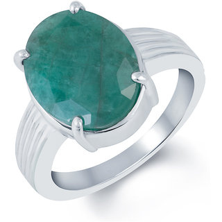 Kundali Emerald Panna Green Coloured Original Stone with Premium Quality Sterling Silver Gemstone Ring and Certificate