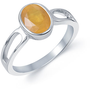 Kundali Yellow Sapphire Pukhraj Original Stone with Premium Quality Sterling Silver Gemstone Ring and Certificate