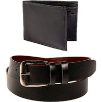 Fedrigo Classic Smooth Black Belt With Wallet FMB-241