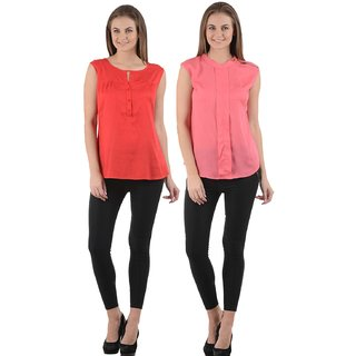 Red,Pink Round Neck Sleeveless Crop Tops For Women (Pack Of 2)