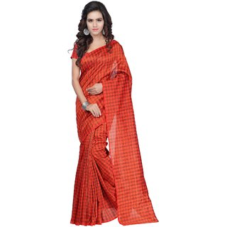 Fabdeal Orange Colored Kota Plain Saree
