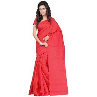 Fabdeal Red Colored Kota Airtex Plain Saree