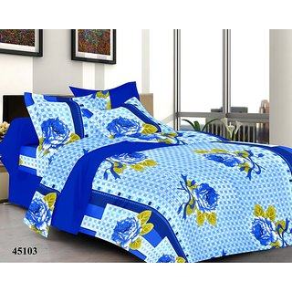 valtellina India Blue Rose Double Bed Sheet with 2 Pillow Covers(YTD-032)