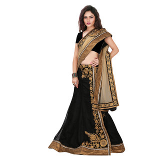 Lookslady Beige Brocade Embroidered Saree With Blouse
