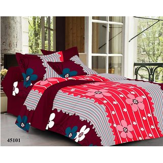 valtellina India Flowery Stripes Double Bed Sheet with 2 Pillow Covers(YTD-036)