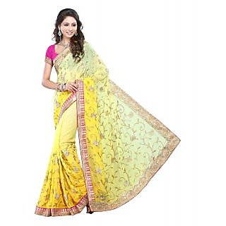 Lookslady Yellow Georgette Embroidered Saree With Blouse