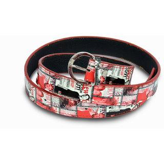Women white and red design belt
