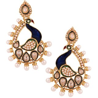 The Jewelbox Dancing Peacock 22 K Gold Plated Blue Pearl Dangling Earring For Women