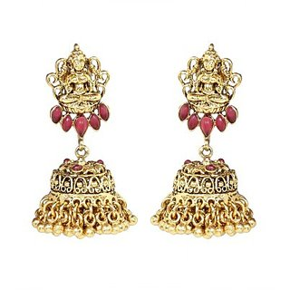 The Jewelbox Goddress Lakshmi Temple Antique Gold Plated Red Jhumki Earring For Women