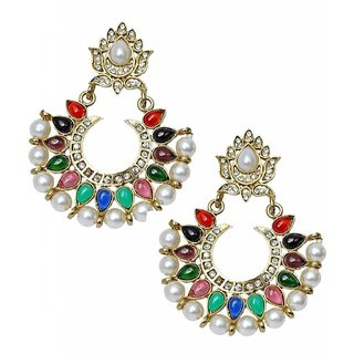 The Jewelbox Festive Navratna Chaand Pearl Chaand Bali Earring For Women