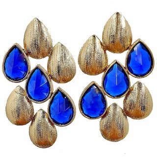 The Jewelbox Dew Drop Antique Gold Plated Sapphire Blue Stud Earring For Women