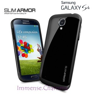 Samsung Galaxy S4 I9500 SPG SPIGEN Slim Armor Back Case Cover Hybrid BLACK COLOR