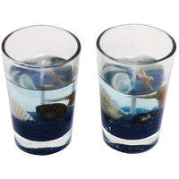 PeepalComm Glass Gel Set Candle(Blue, Pack Of 2)