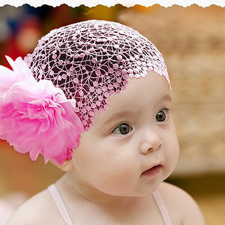 6bedfd7f040 Baby Girl 6-24 Month Flower Lace Wide Headband Elastic Band Hair  Accessories Headwear - Pink