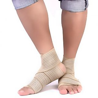 2Pcs Professional Sports Accessories Ankle Supporter Brace Wrap- Pale Yellow