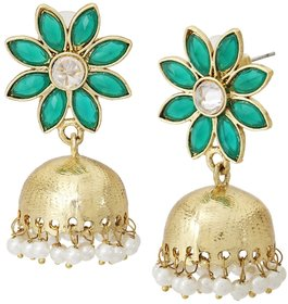 The Jewelbox Green Floral 22K Gold Plated Jhumki Earring For Women