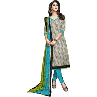 Parisha Blue And Black Polycotton Printed Kurta & Churidar Dress Material