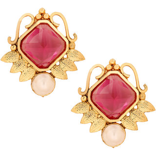 The Jewelbox Faceted Rani Pink Stone 18K Gold Plated Victorian Stud Earring For Women
