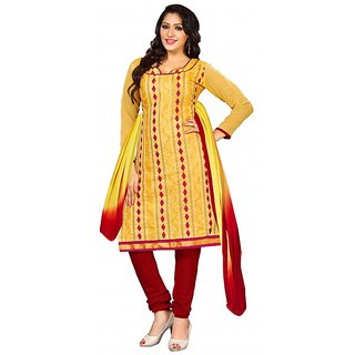 Parisha Yellow And Red Polycotton Printed Salwar Suit Dress Material (Unstitched)