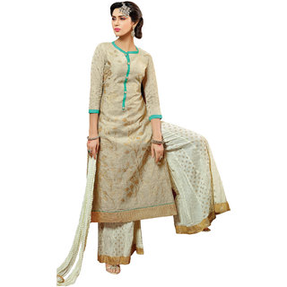 Parisha Beige Polycotton Embroidered Salwar Suit Dress Material (Unstitched)