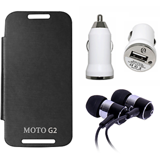 Moto G2 (Black) Flip Cover With Car charger And Hands Free