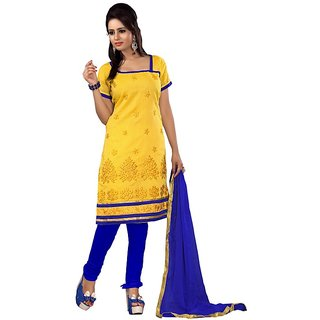 Florence Yellow Cotton Embroidered Suit Dress Material (SB-1653)