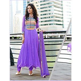 Thankar Violet Embroidered Georgette Anarkali Suit