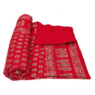 Marwal Red Jaipuri Hand Made Block Print  Double Bed Quilts
