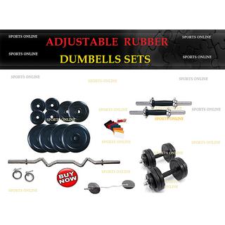 Bodyfit 30 Kg Rubber Plates +1 X 3Ft Curl Rod+2 Dumbell Rod 14