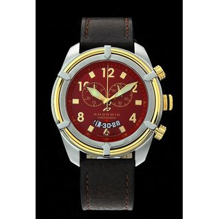 Android Naval-2 AD466BGBR 48MM Swiss Quartz Chronograph Red Dial Brown Leather