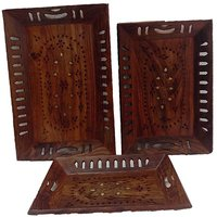 Kh Woodart WOODEN 3 SERVING TRAY COMBO