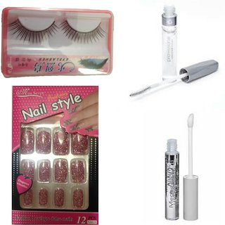 Combo of Designer Nails + Artificial Eyelash + Transparent Mascara + LipGloss