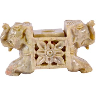 Avinash Handicrafts Stone Candle Stand (2 elephant face) 2 inch carved