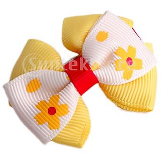 Baby Toddler Girl Hair Bow w/ Single Prong Clip - Beige And Yellow