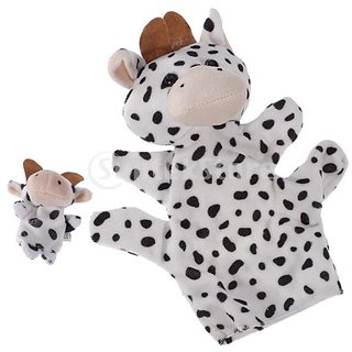 Black White Milk Cow Hand Puppet Finger Puppet