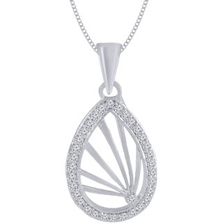 Jewelscart.In Fashion CZ Conspicuous Silver Plated Pendant Jewellery With Chain For Woman