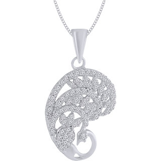 Jewelscart.In Fashion CZ Transluscent Silver Plated Pendant Jewellery With Chain For Women