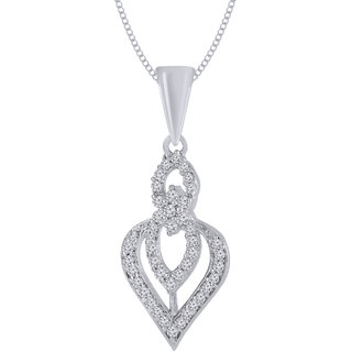 Jewelscart.In Fashion CZ Artistic Silver Plated Pendant Jewellery With Chain For Women