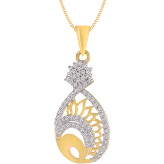 Jewelscart.In Fashion CZ Stylish Gold Plated AD Pendant Jewellery With Chain For Woman