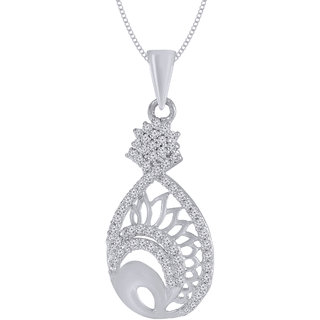 Jewelscart.In Fashion CZ Fanciful Silver Plated AD Pendant Jewellery With Chain For Woman